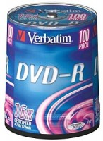 Диск DVD-R Verbatim 4.7Gb 16x Cake Box 100шт (43549)